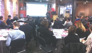 David Ralph Chief Executive of D2N2 speaking at their latest Business Breakfast Breakfast at Derby Museum's Silk Mill