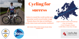 Leigh Timmis round the world cyclist and adventurer will be speaking at Astute Recruitment's Business Breakfast on 18th Oct 2018 at Derby's iconic 3AAA County Ground