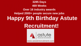 3285 Days | 469 Weeks | Over 16 Industry Awards | Helped 2,000+ People Find Jobs | Happy Birthday Astute Recruitment!