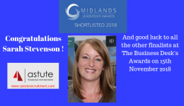 Sarah Stevenson Shortlisted Midlands Leadership Awards