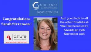Sarah Stevenson Shortlisted Midlands Leadership Awards