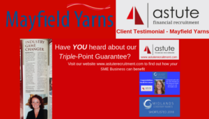 Astute Recruitment - Triple-Point Guarantee Client Testimonial - Mayfield Yarns