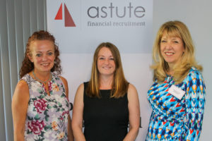 From left, Mary Maguire & Sarah Stevenson, MDs of Astute Recruitment Ltd with Lisa Spencer-Arnell