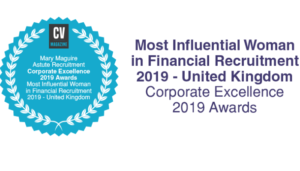 CV Magazine Award Mary Maguire Most Influential Woman in Financial Recruitment 2019