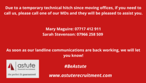 Temporary contact numbers for Astute Recruitment Ltd