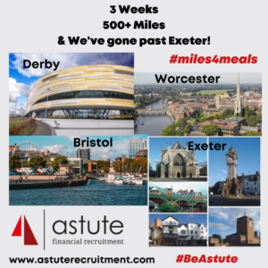 Derby to Exeter in just one week. Astute Recruitment's #miles4meals adventure goes from strength to strength
