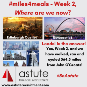 Astute Recruitment's 2nd week of our #miles4meals and we have covered an incredible 564.5 miles!