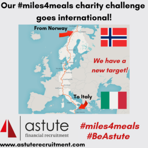Astute Recruitment Ltd's #miles4meals charity challenge goes international!