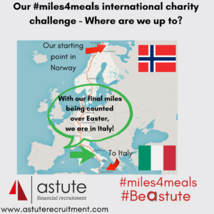 Astute Recruitment Ltd approaches our final international destination in southern Italy. Our final miles are being counted.